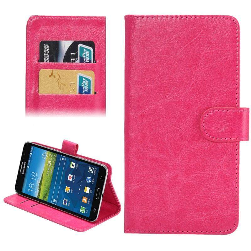 5.5-6.3 Inch Universal Crazy Horse Texture 360 Degree Rotating Carry Case with Holder & Card Slot for Samsung Galaxy Mega 6.3 / i9200(Magenta) - intl