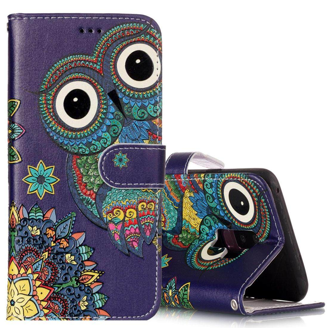 For Samsung Galaxy S9+ Gloss Oil Embossed Ethnic Style Owl Pattern Horizontal Flip Leather Case with Holder & Card Slots & Wallet - intl