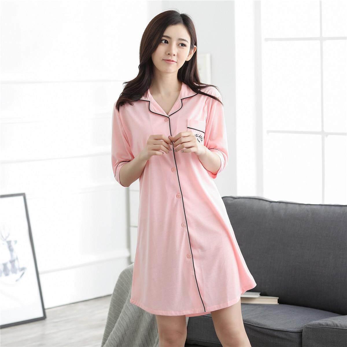 247a990253 New Summer Nightwear Shirt Home Dress Short Sleeved Fabric Short Skirt  Female Korean Version Knitted LA11LAWYL143