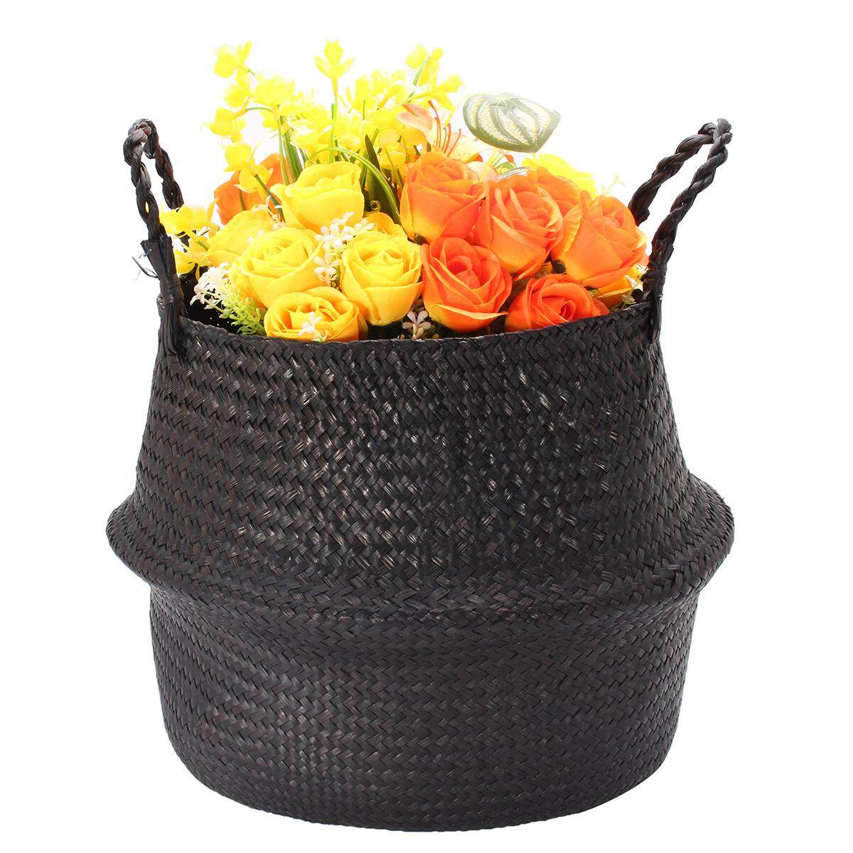 Black Seagrass Belly Basket Storage Holder Plant Pot Bag Home Decoration 38X36CM