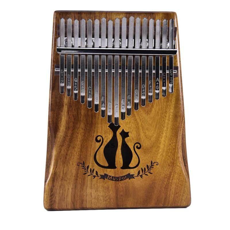 17 Keys Kalimba African Solid Mahogany Wood Thumb Piano Finger Percussion Gifts(Couple Cat)