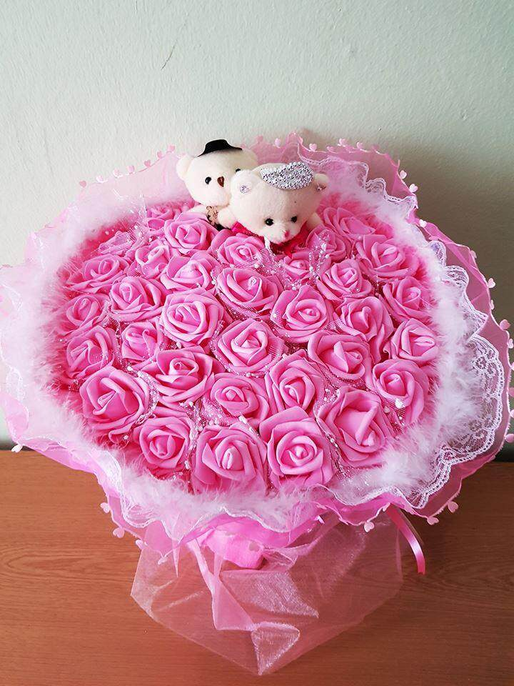 33 Artificial Rose With Couple  Bear Bouquet