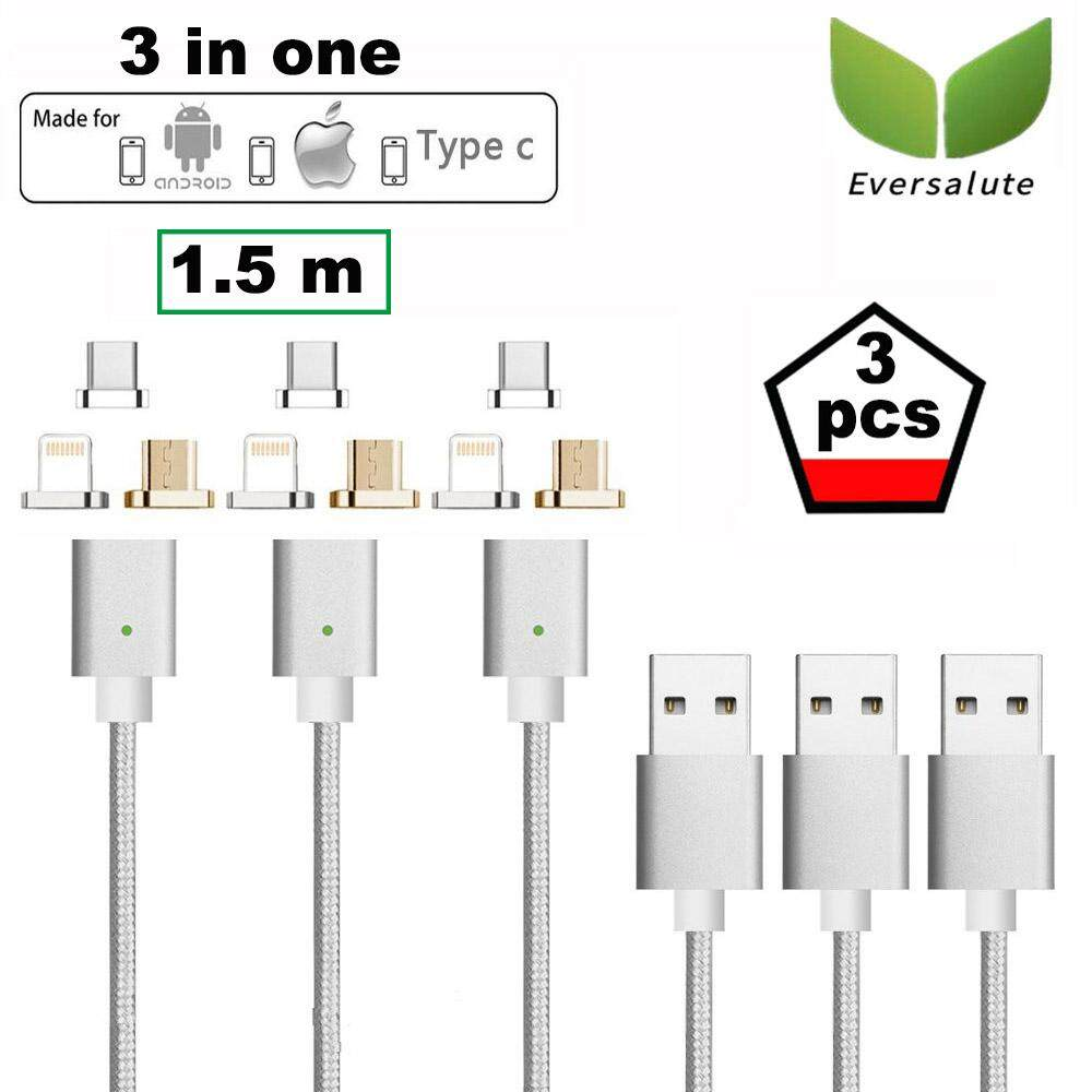 Eversalute Upgrade Version Lightning+USB C+Micro USB 3 in 1 Nylon Braided USB2.0 Magnetic Charging Cable For both Android Smartphone and iPhone(1.5m,3 pack)