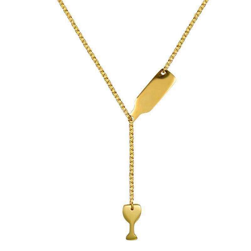 Bzy Fashion Gelas Bir Panjang Kalung Liontin untuk Wanita Botol Anggur Gold/Perak/Mawar