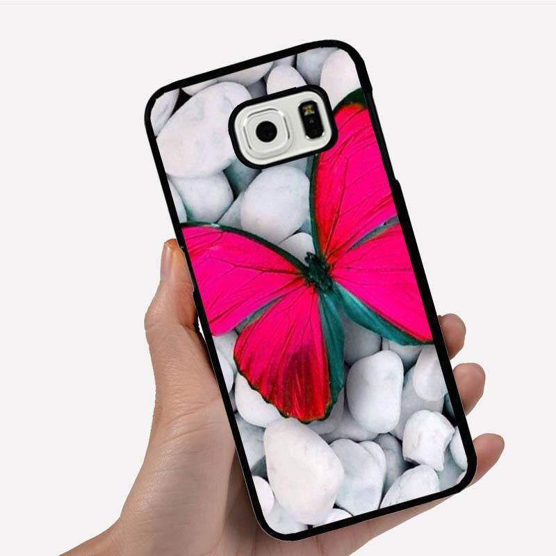 Casing Ponsel untuk Xiaomi Redmi Note 4 dengan Satu Kupu-kupu Merah Muda Putih Batu Gambar Kartun Pola Plastik Anti -Knock Telepon Case Cover
