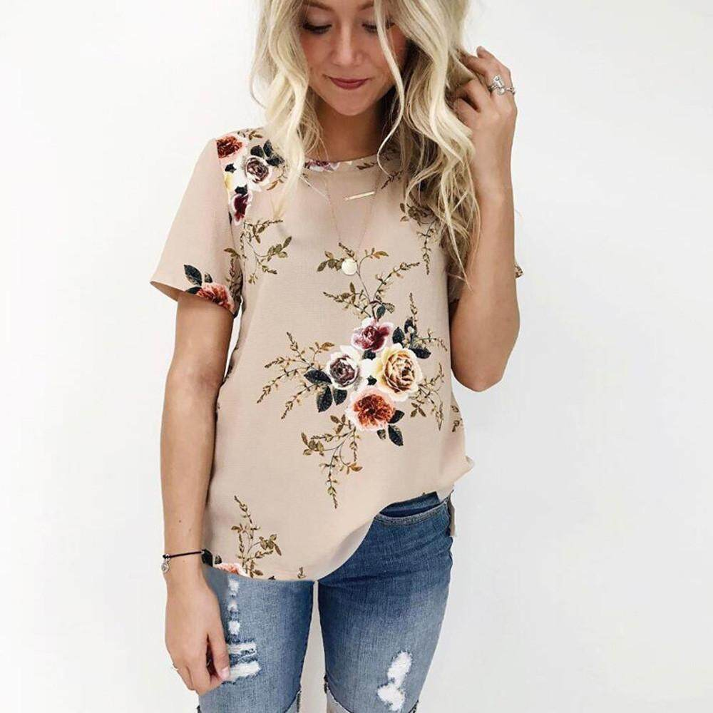 Buy Sell Cheapest Floral T Best Quality Product Deals Indonesian Lover Graphic Shirts Putih L Trend Tops Women Short Sleeve Printing Blouse Casual Loose Shirt Intl