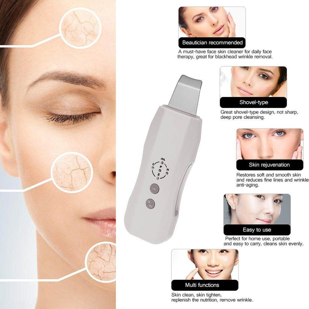 Sonic Skin Cleaner Ultrasonic Face Pore Scrubber Facial Tighten Peeling Shovel Exfoliator Blackhead Removal Skin Care Massager US Plug