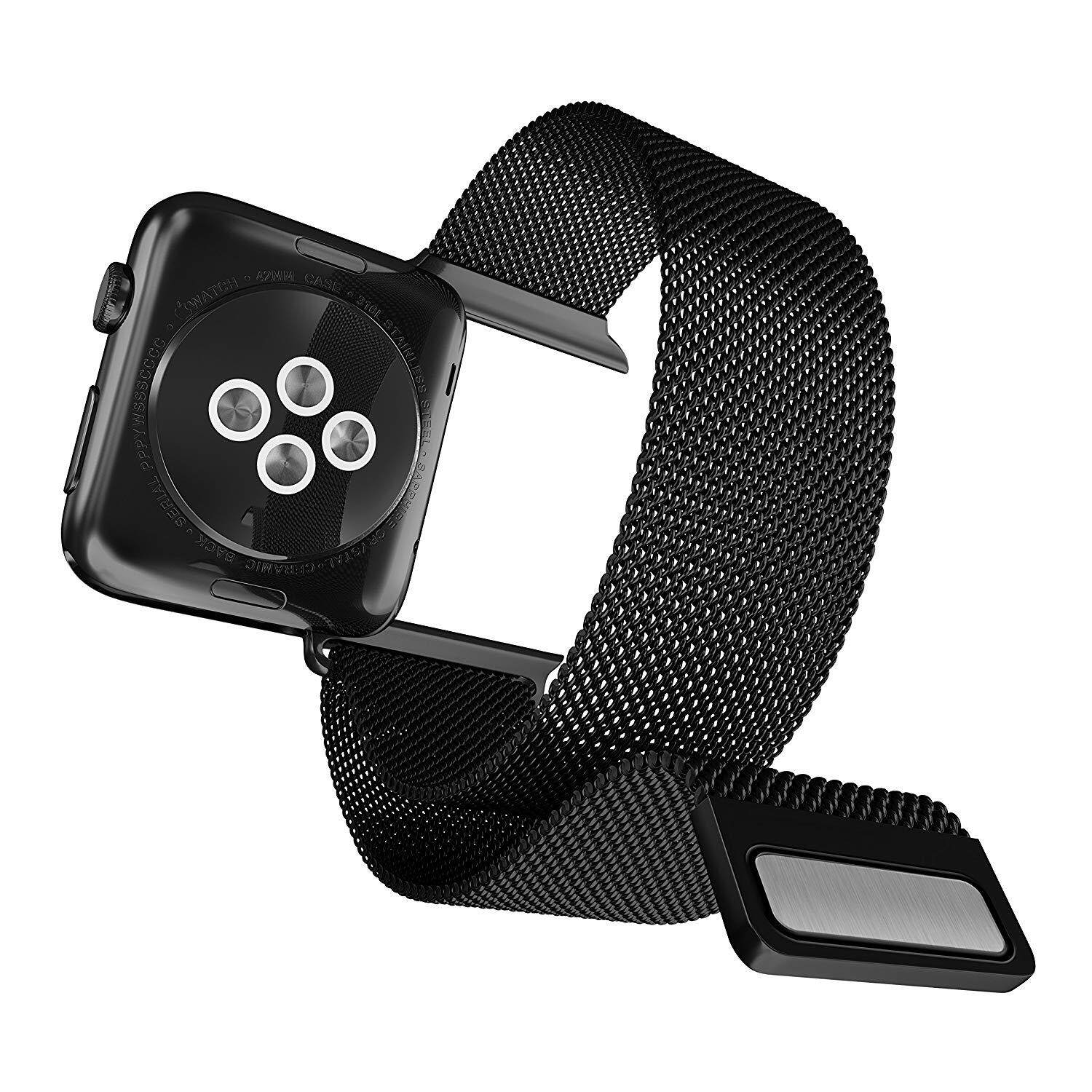 X-Doria 42mm Apple Watch Replacement Band, Mesh Band Metal Loop Band (Black) - Compatible with Apple Watch Series 1, Series 2 and Nike+