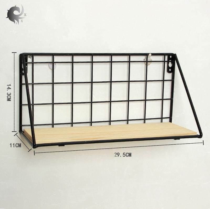 Wall shelf, simple, Nordic, solid wood, punch-free, partition, wrought iron, grid storage stand, living room, creative, wall hanging, high quality iron + solid wood material (29.5*14.3cm)