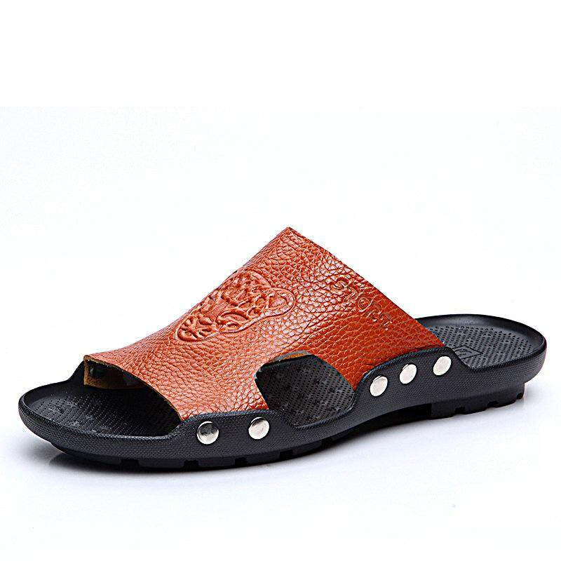 e6b66f1138cd75 S-4066 Fashion Summer Men Leather Stylish Tiger Pattern Special Sole Beach  shoes Slippers Sandals