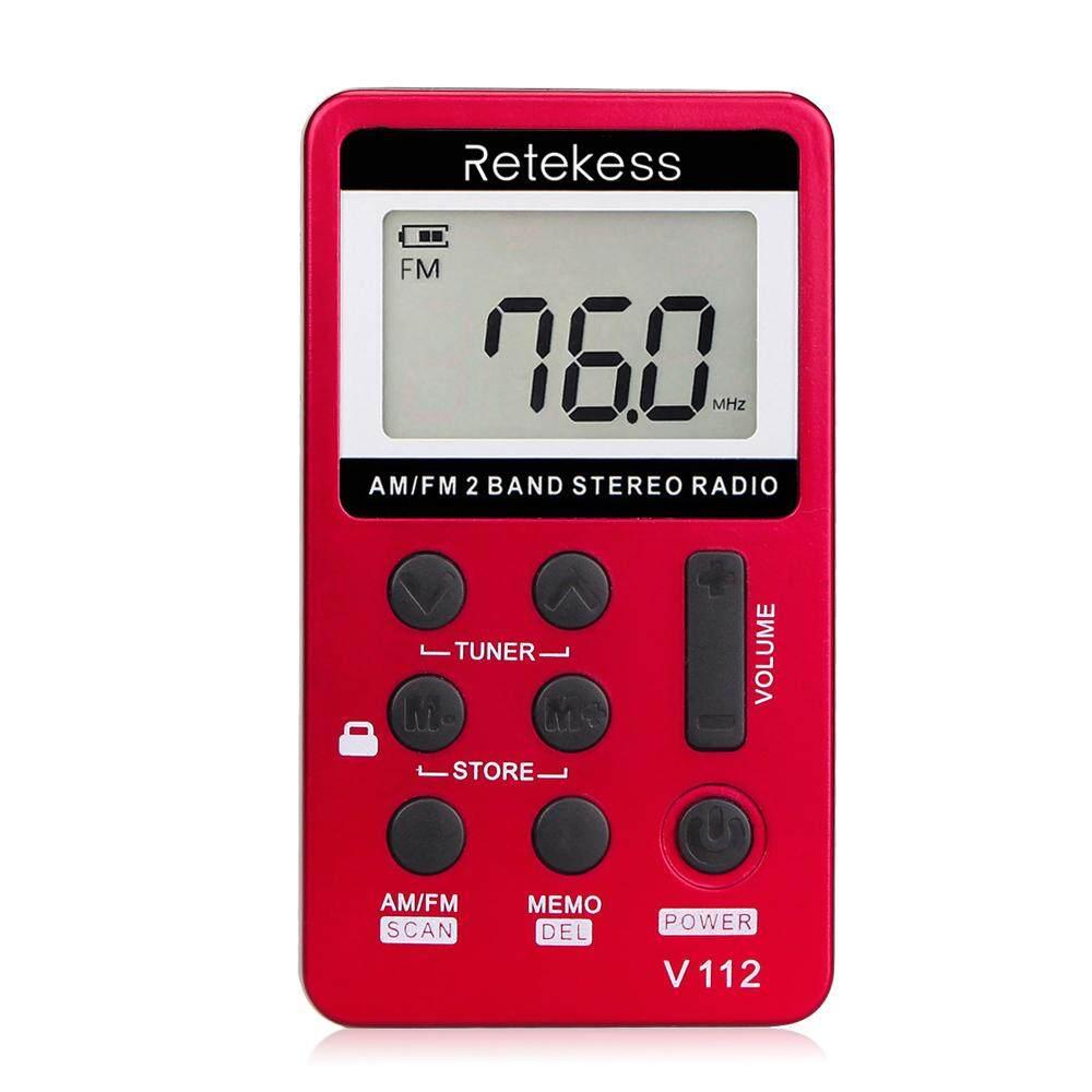 Retekess V-112 Portable Am/ Fm Stereo Radio Pocket 2 Band Digital Tuning Radio Mini Receiver Outdoor Radio W/ Earphone Lanyard 1.5 Inch Lcd Display Screen 500mah By Haitao.
