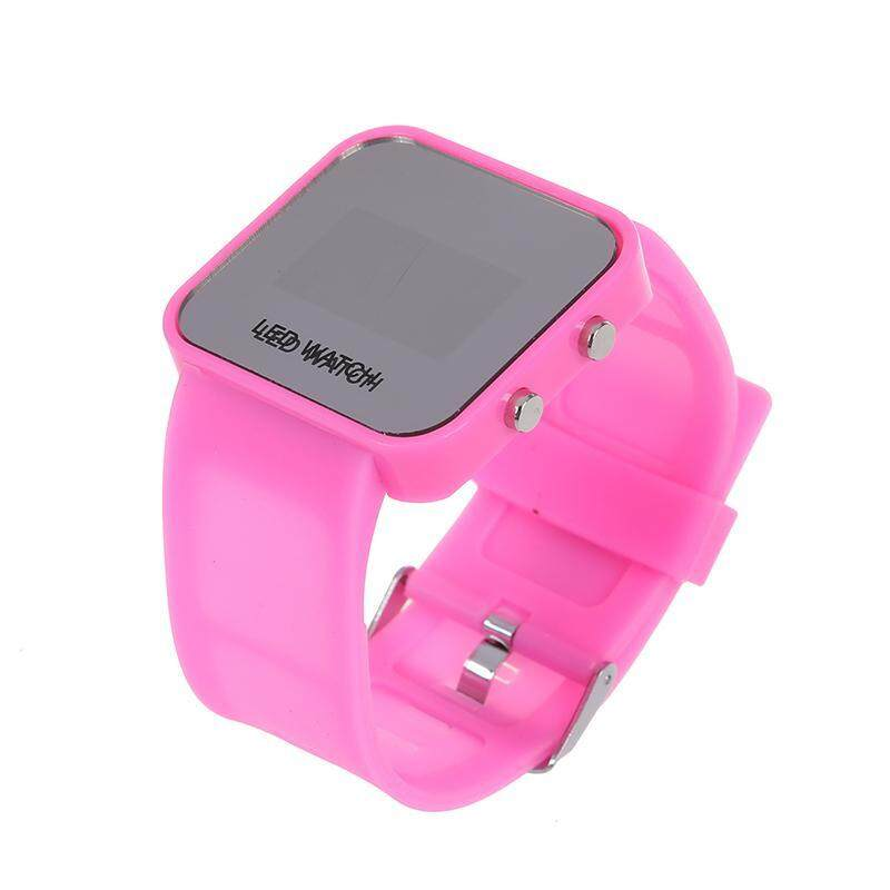 Pink Luxury Sport Style LED Digital Watch Mirror Surface Silicone for Lady Men Malaysia