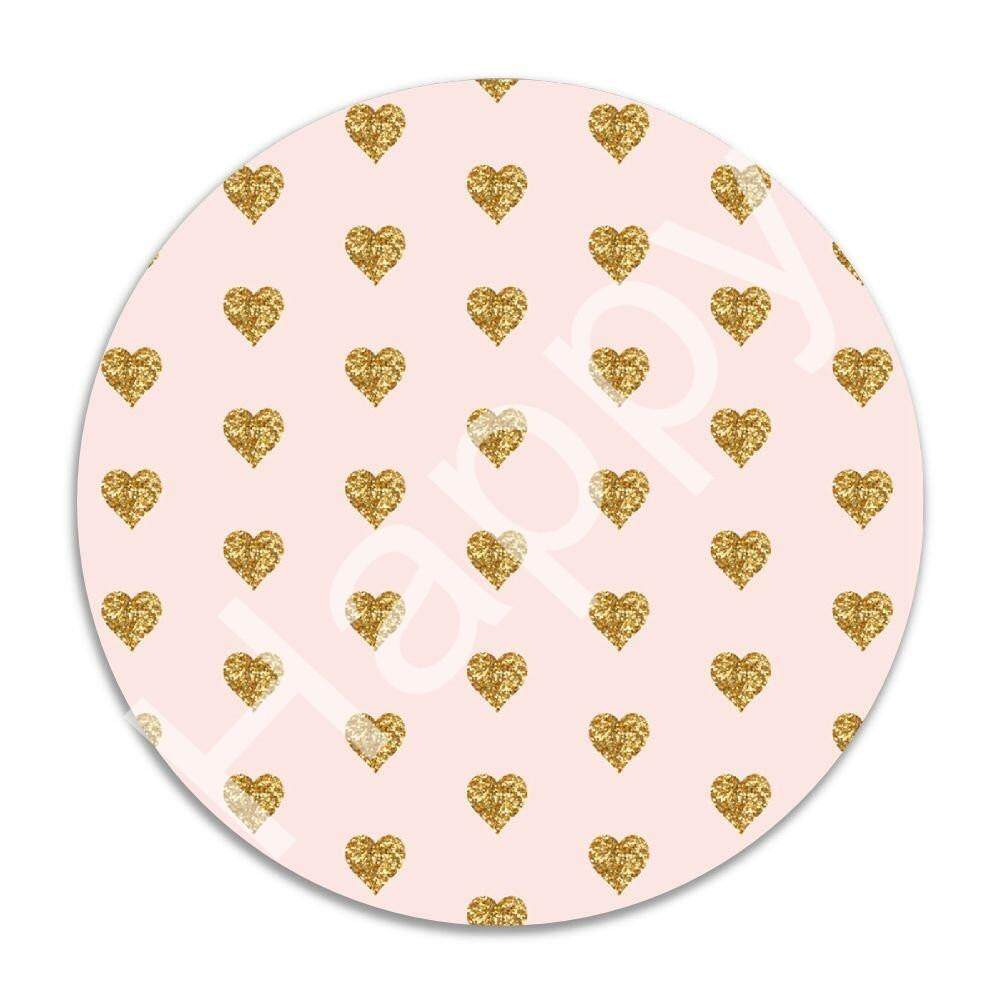 Gaming Mouse Pad, 7 Inches Round Natural Rubber Base, Non-Slip Mouse Mat Faux Glitter Heart 1J3225 Malaysia
