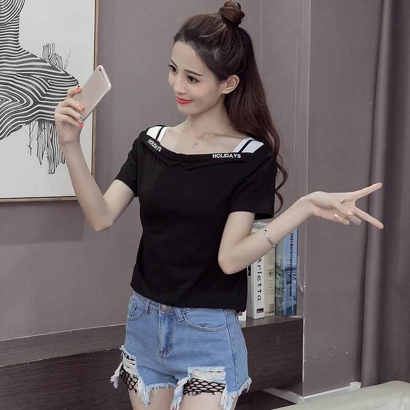 Atasan Wanita Fashion Huruf Baru Korea Strapless Wanita Kerah Longgar Katun Lengan Pendek T-shirt