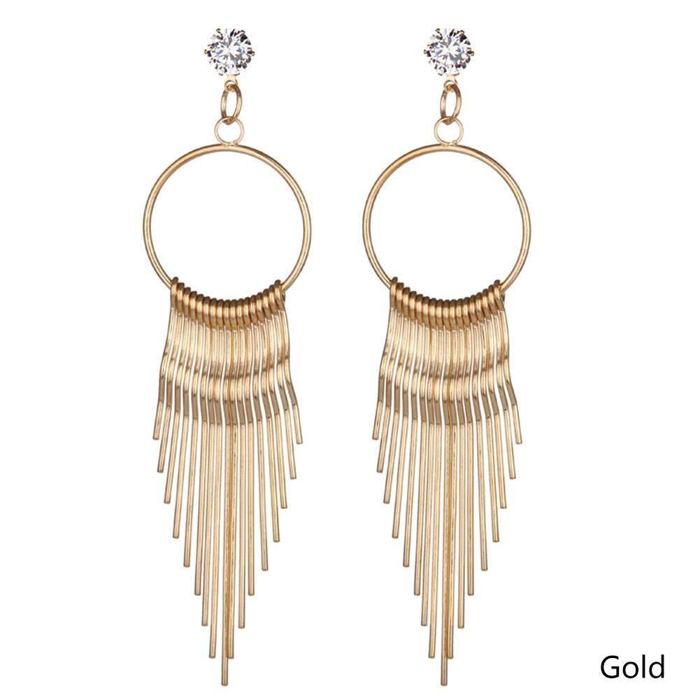 Bzy Wanita Temperamen Fashion Logam Panjang Perhiasan Anting-anting Berumbai