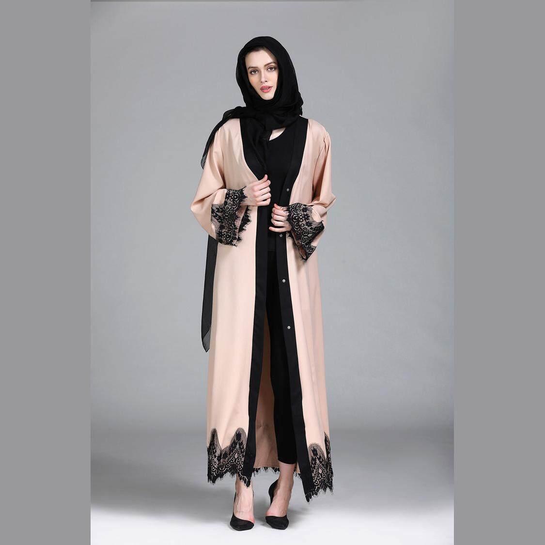 Features Fashion Muslim Dress Long Sleeve Women Arabic Dubai Abaya Anneyep Printed Flowers Kaftan Maxi New For Lace Islamic Turkish Clothing Djellaba Robe