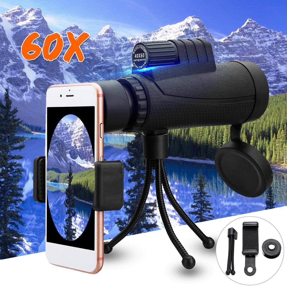 40X60 Tele Kamera Monokular Lensa + Tempat Ponsel + Tripod untuk Telepon Seluler