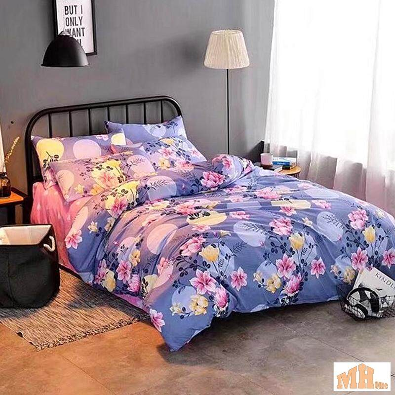 Maylee High Quality Fashion 4pcs Purple Flower Queen Bedding Set (FM-PRFLO)