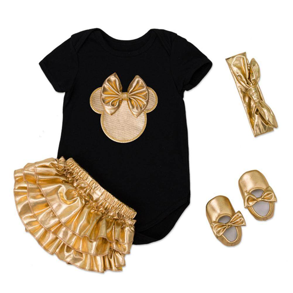 Rd 4pcs/set Baby Newborn Girl Soft Cotton Jumpsuit Clothes Set Short Sleeve Jumpsuit Rompers + Gold Fold Dress + Hairband + Gold Shoes By Redcolourful.