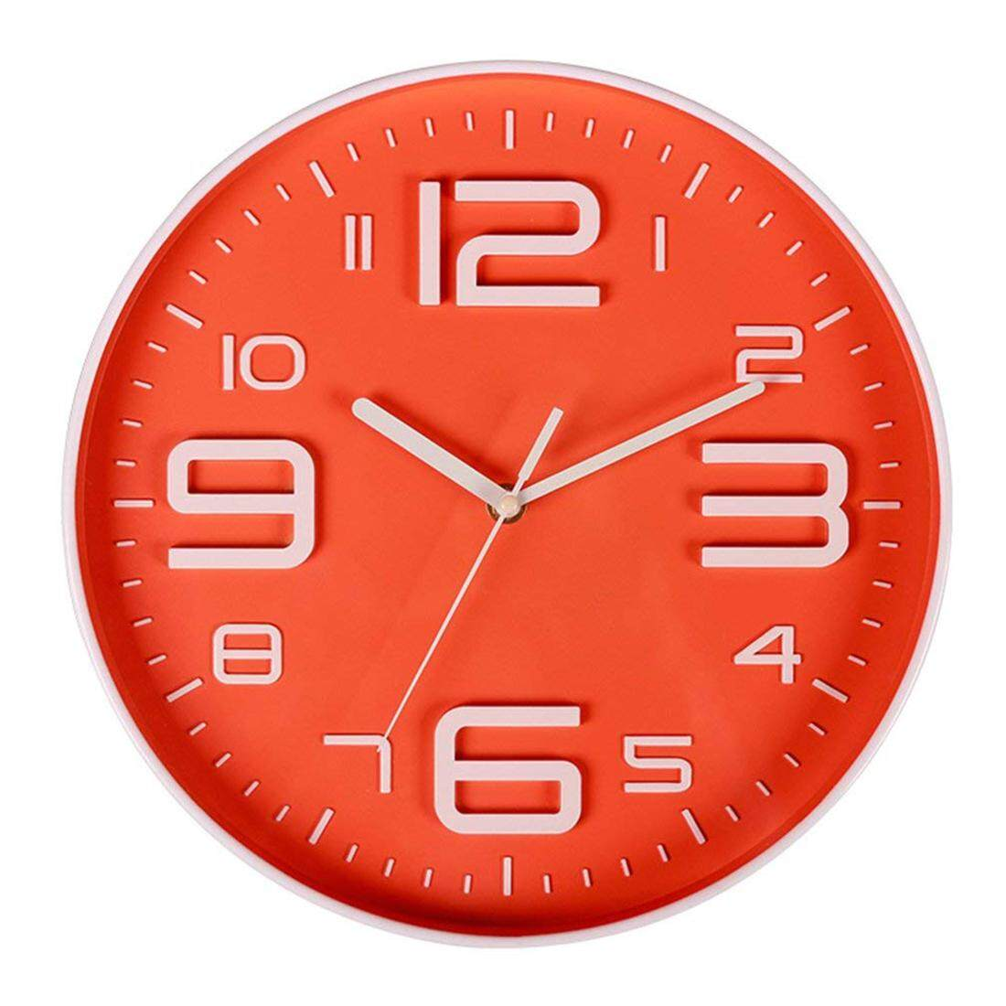 Indoor Big 3D Number Quartz Silent Non Ticking Wall Clock Quiet Sweep Movement Decorative Battery Operated 10 Inch Orange Free Shipping