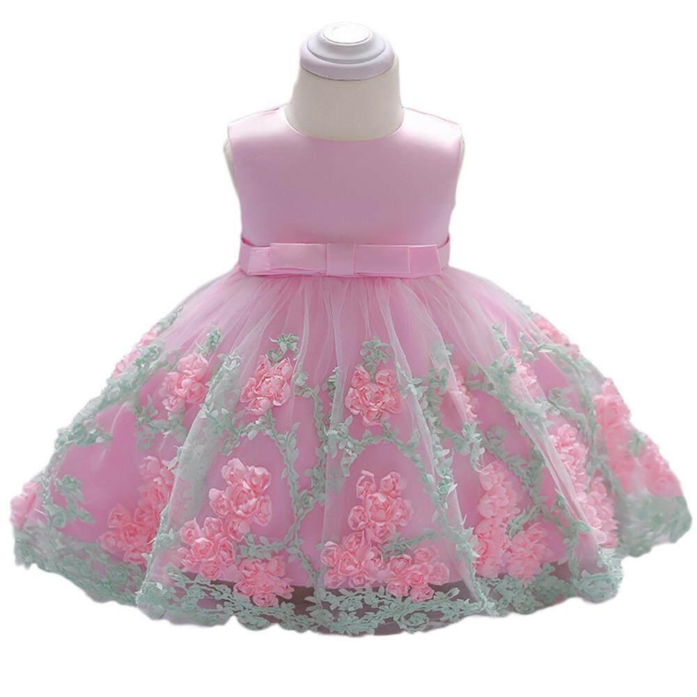 20867c60e DSstyles Baby Girl Cute Elegant Lace Princess Dress Long Sleeveless Bowknot  Flower Skirt Birthday Gift