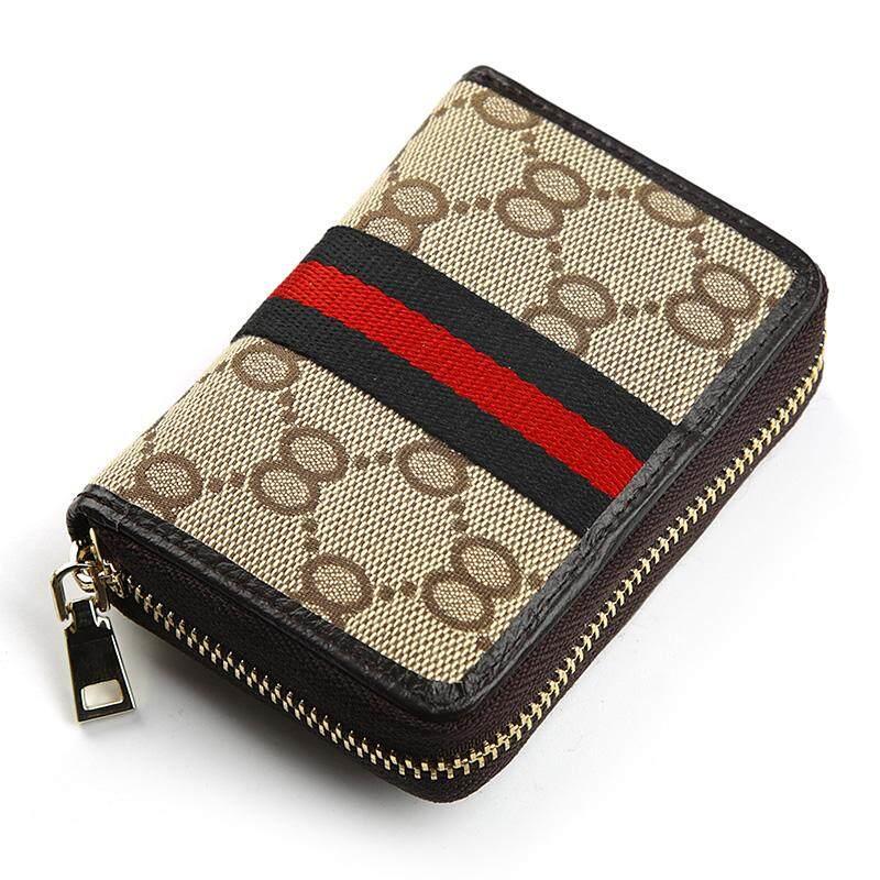 Ribbon Womens card holder coin purse small card holder (Black fine stripe) (Black