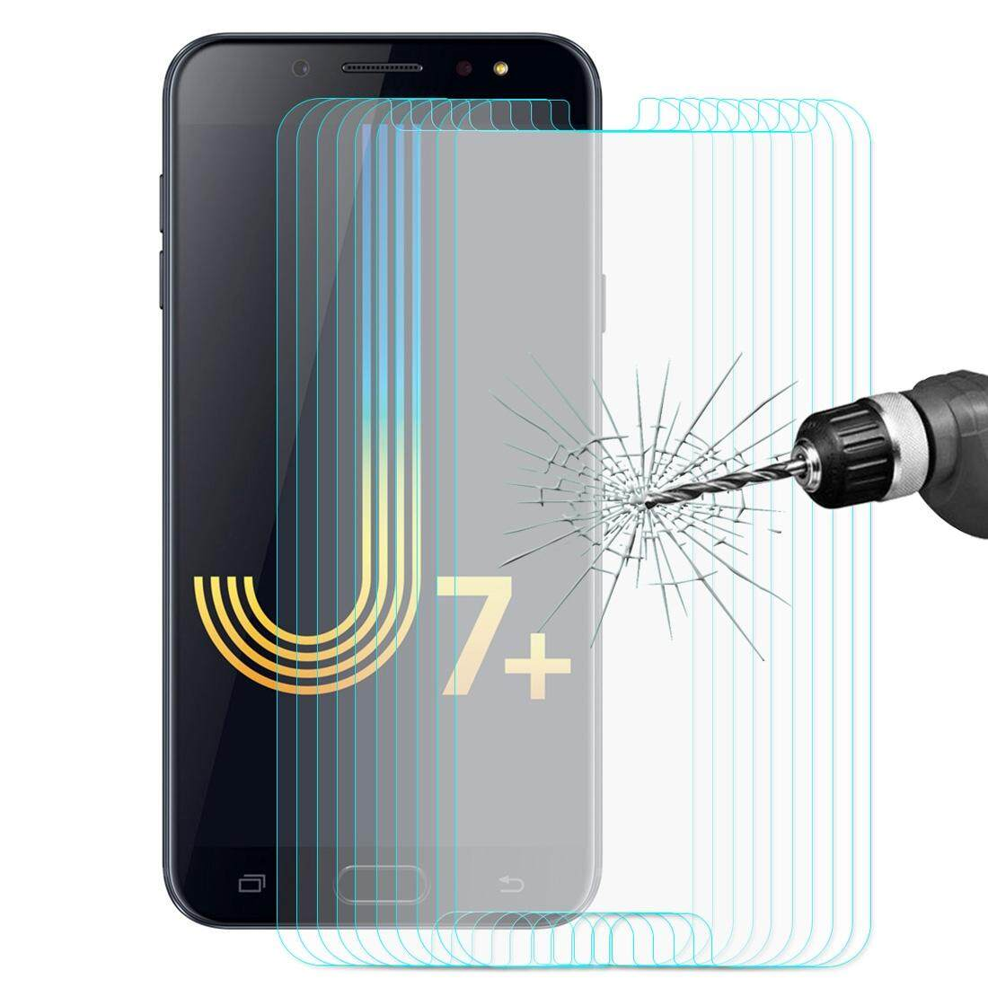 10 PCS ENKAY Hat-prince 0.26mm 9H 2.5D Tempered Glass for Galaxy J7+ (2018) and C7 (2017)