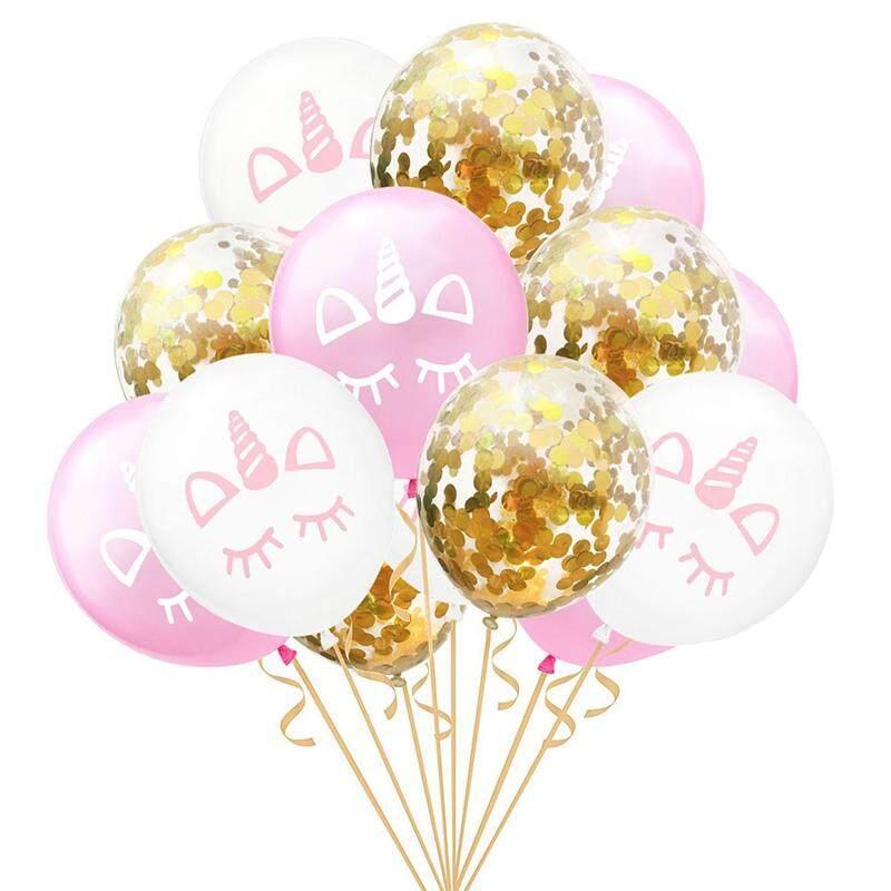 Kuhong 15 Pcs 12 Inch Inflatable Unicorn Balon Emas Confetti Balon Pesta Ulang Tahun Anak Dekorasi