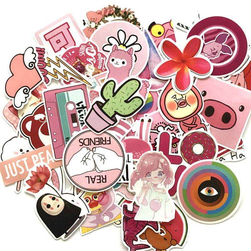 Bzy 50 Pcs/set Anime Pink Girl Stickers For Car Laptop Pvc Backpack Skateboard Home Decal Waterproof By Beautyzy.