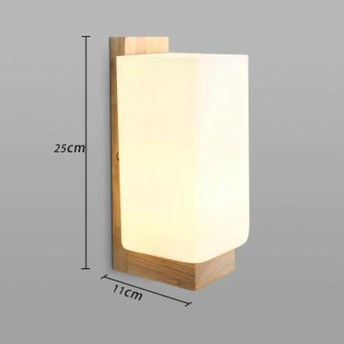 Wall Lights European Oak Wood Wall LED Simple Corridor Lamp Warm Bedroom Bedside Lamp - intl