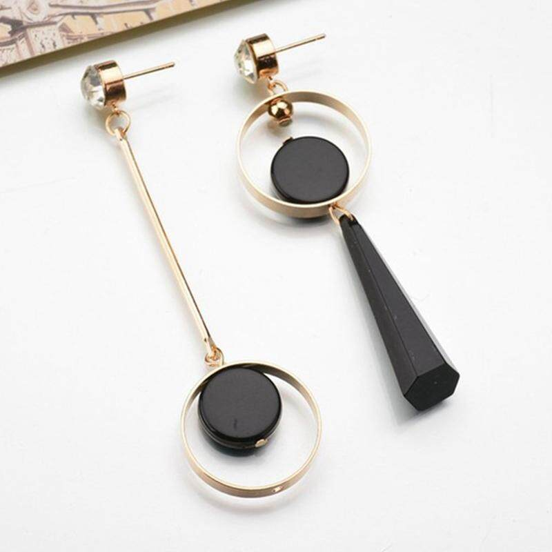 Fancyqube New European And American Fashion Asymmetry Exaggerated Circle Long Drop Earrings -