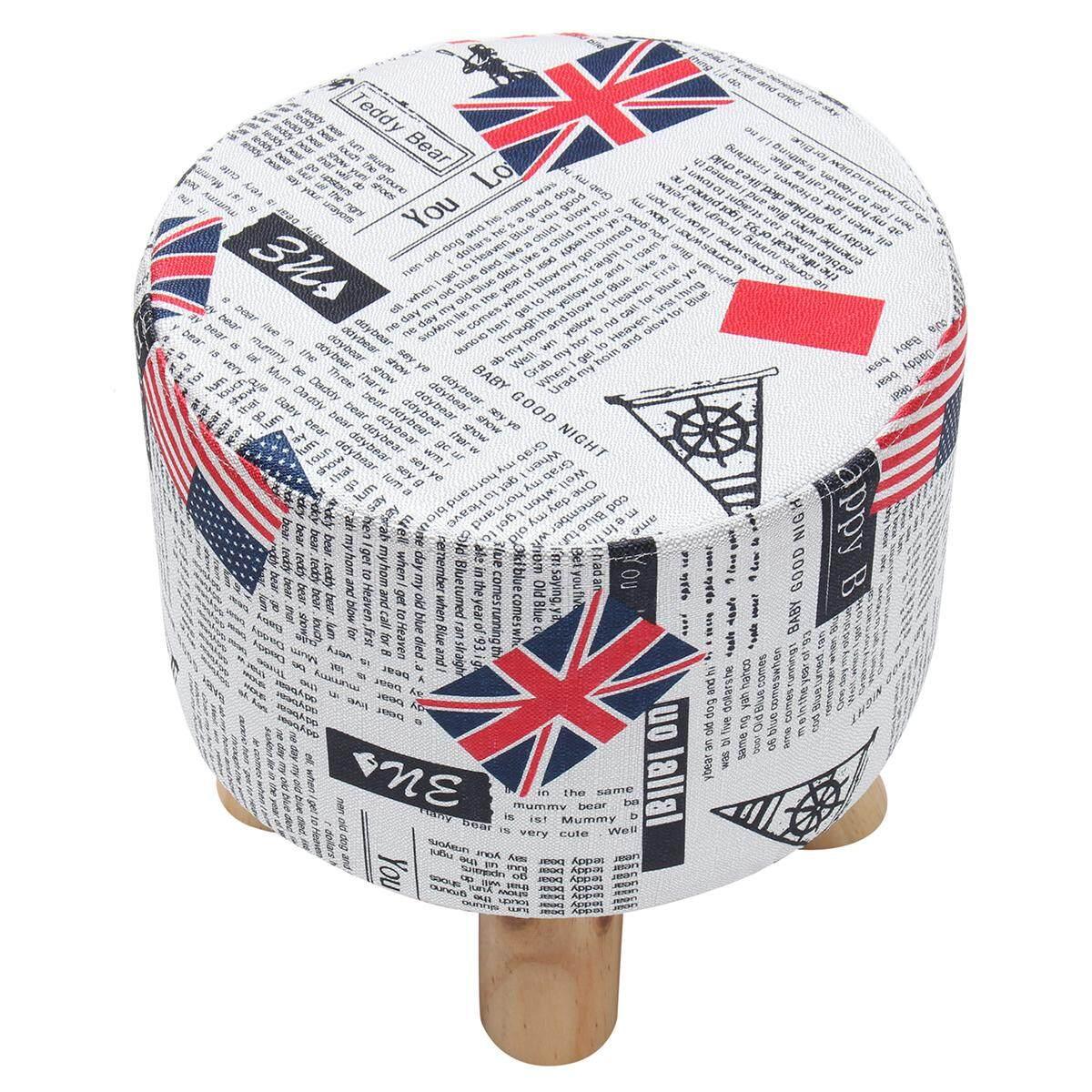 Bulat Pine Bangku Kaki Kayu Ottoman Pouffe Tinja Kain Sandaran Kaki Kursi Empuk # Inggris-Internasional