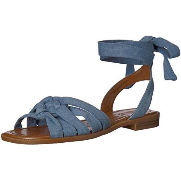 Nine West Womens Xameera Denim Flat Sandal, Light Blue Denim, edium US - intl