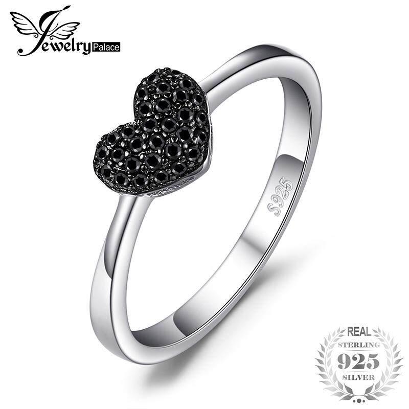 Jewelrypalace 0.14ct Asli Spinel Cinta Cincin Jantung 925 Perak Sterling