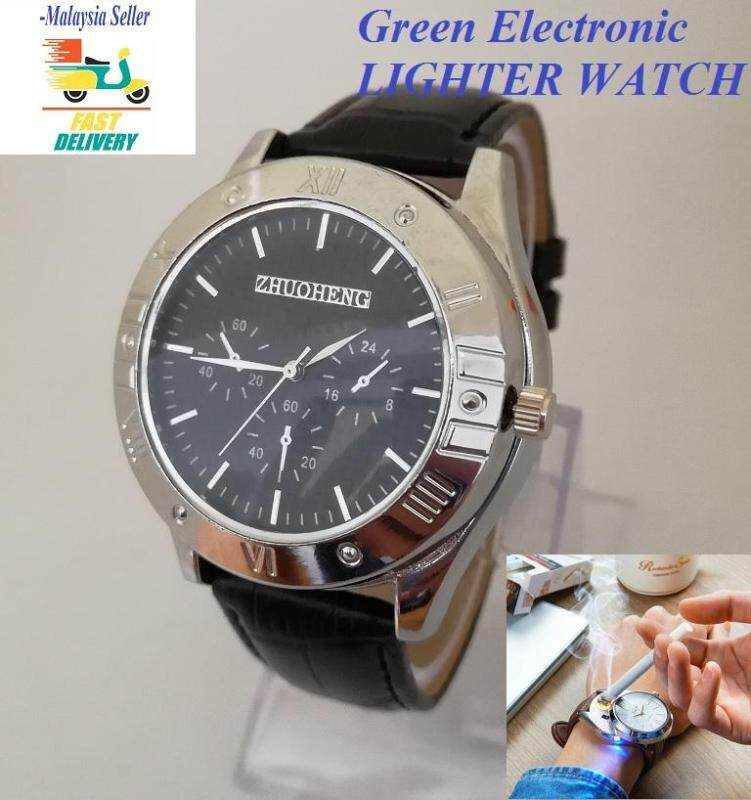 Lighter Watch Green Electronic Rechargeable And Windproof Lighter Watch - USB Cigarette Cigar Flameless Lighter - Black (Hot Item) Fast Delivery Malaysia