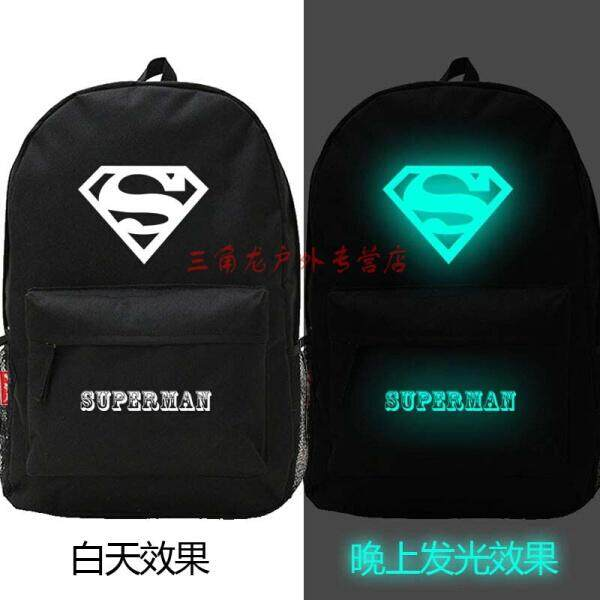 【Superman luminous B014】Luminous Backpack Backpack Middle School Bag Men and women College Wind Monster Leisure