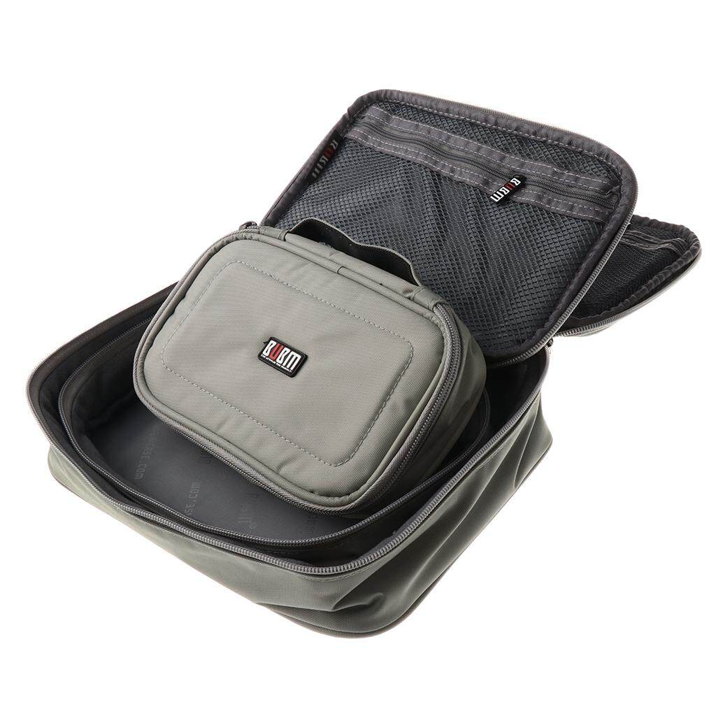 Miracle Shining 3Pieces Waterproof Electronics Accessories Organizer Cable Storage Bag Gray