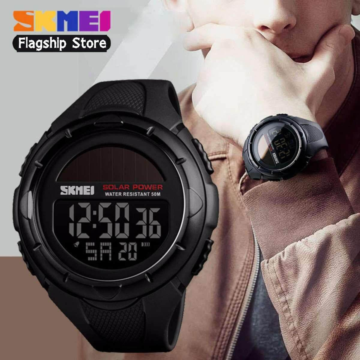 SKMEI New Solar Power Men Sports Watches LED Digital Watch Luxury Brand Electronic Sport Waterproof Wristwatches