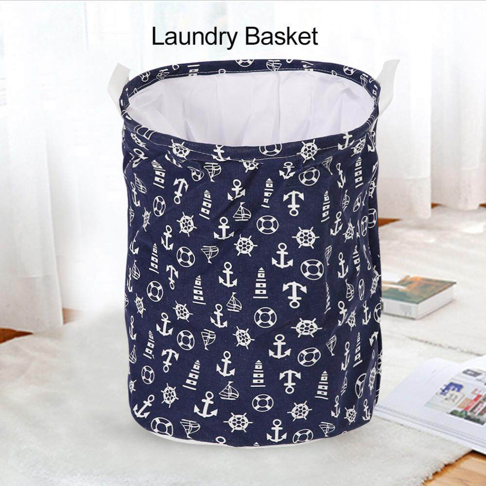 Foldable Standing Storage Bin Toy Clothes Laundry Basket Household Organizer #Blue Backgroud - intl