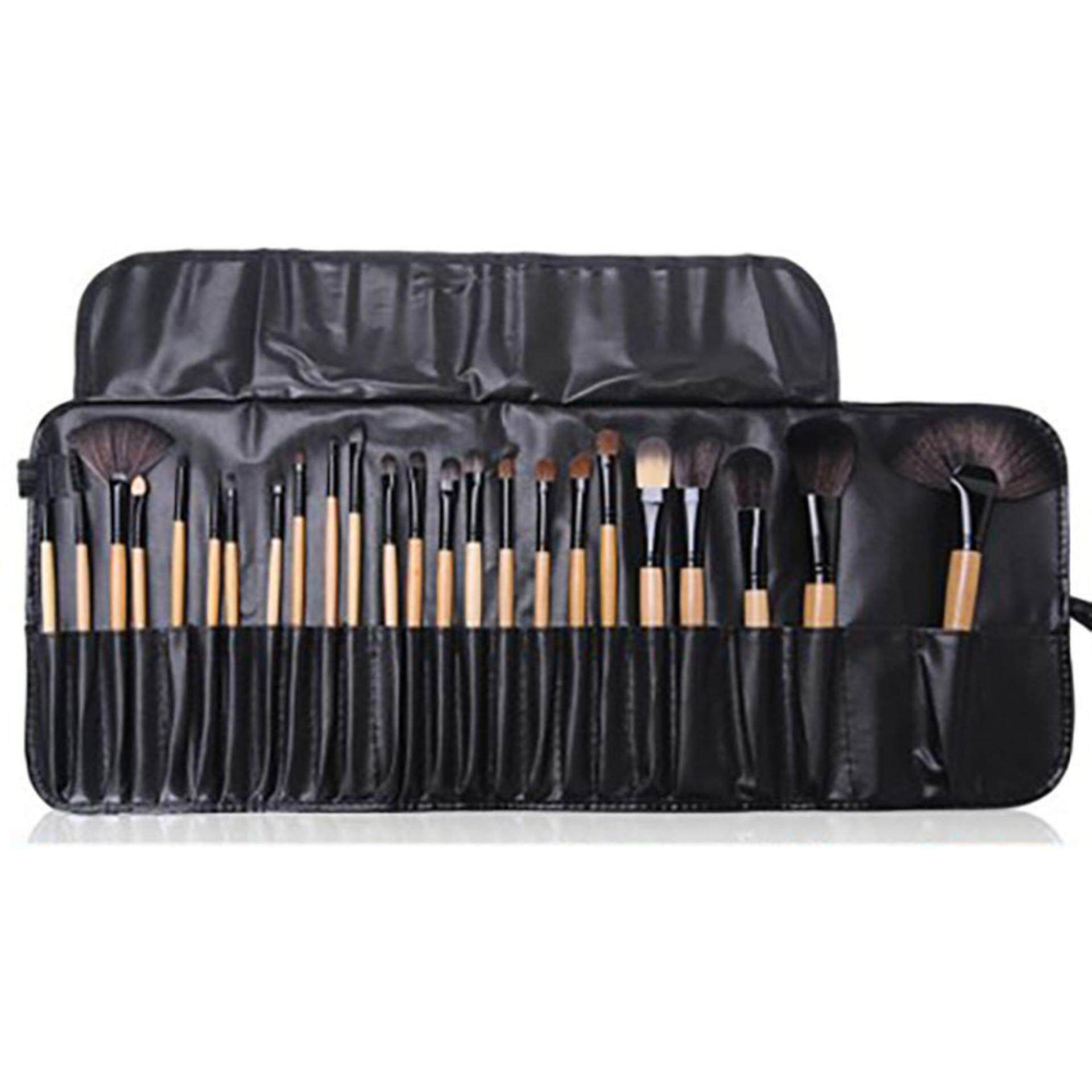 Unique2017 24 pcs Wood Color Makeup Brush Set Horse Hair Set With Brush Bag Eye Makeup