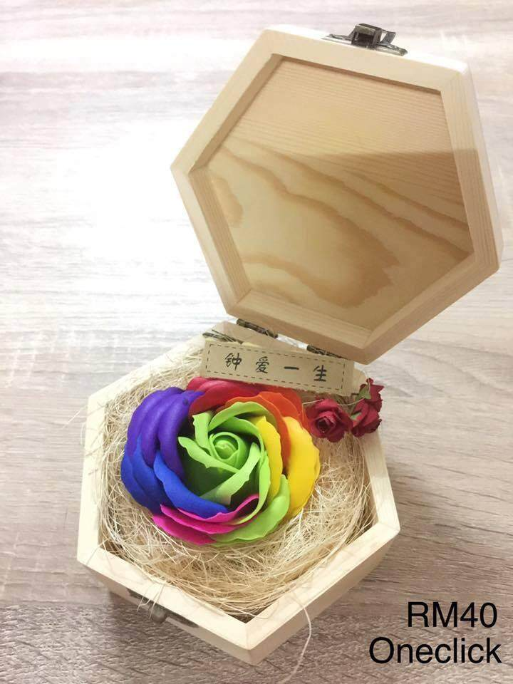 Green Colorful Rose In Wooden Box