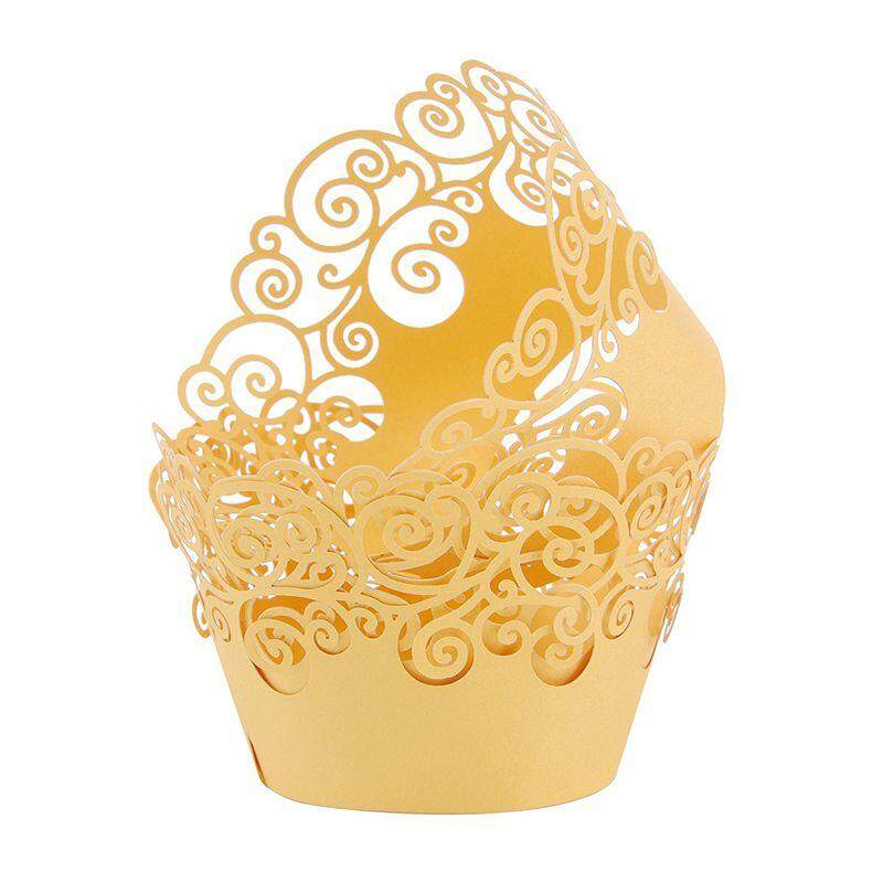 Artistic Muffin Case Cupcake Paper Cup Liner Little Vine Lace Lasing Cupcake Wrappers For Wedding Party Birthday Decoration 5x8x5.2cm(lace Yellow) By Fastour.