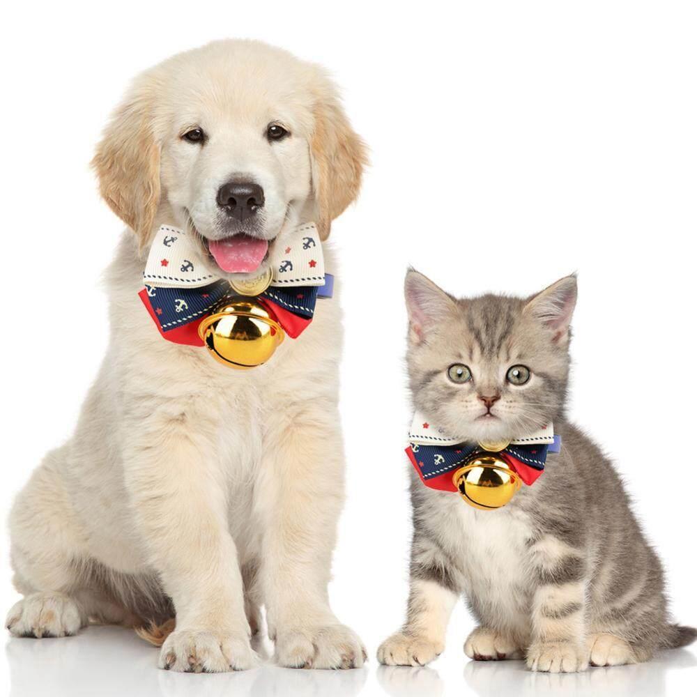 Bell Bow Pet Anjing Kucing Anjing Leher Tali Pengaman Buckle Adjustable Rantai Merah XXS-.