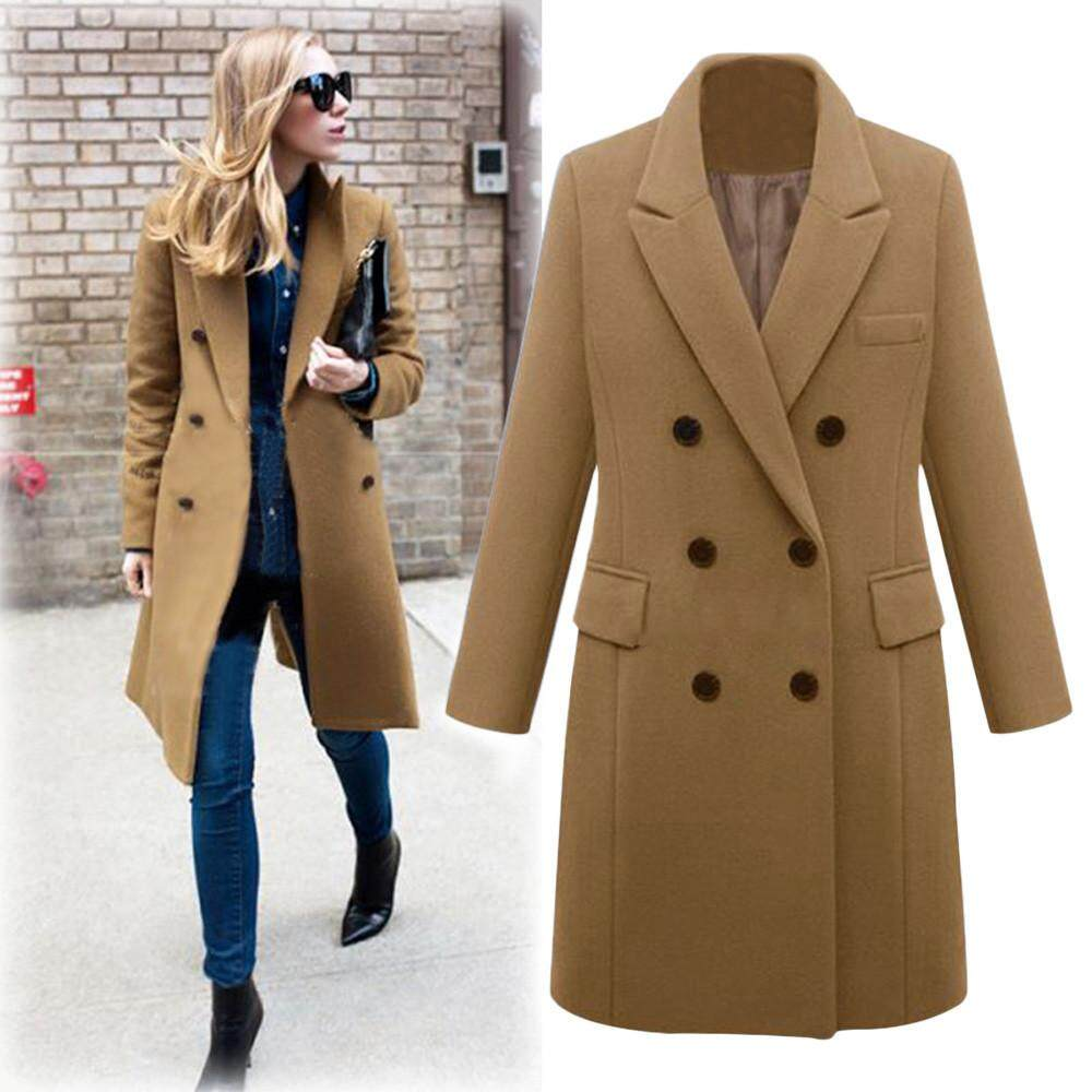 32cf3a8aced Zapramoon Womens Winter Lapel Wool Coat Trench Jacket Long Parka Overcoat  Outwear