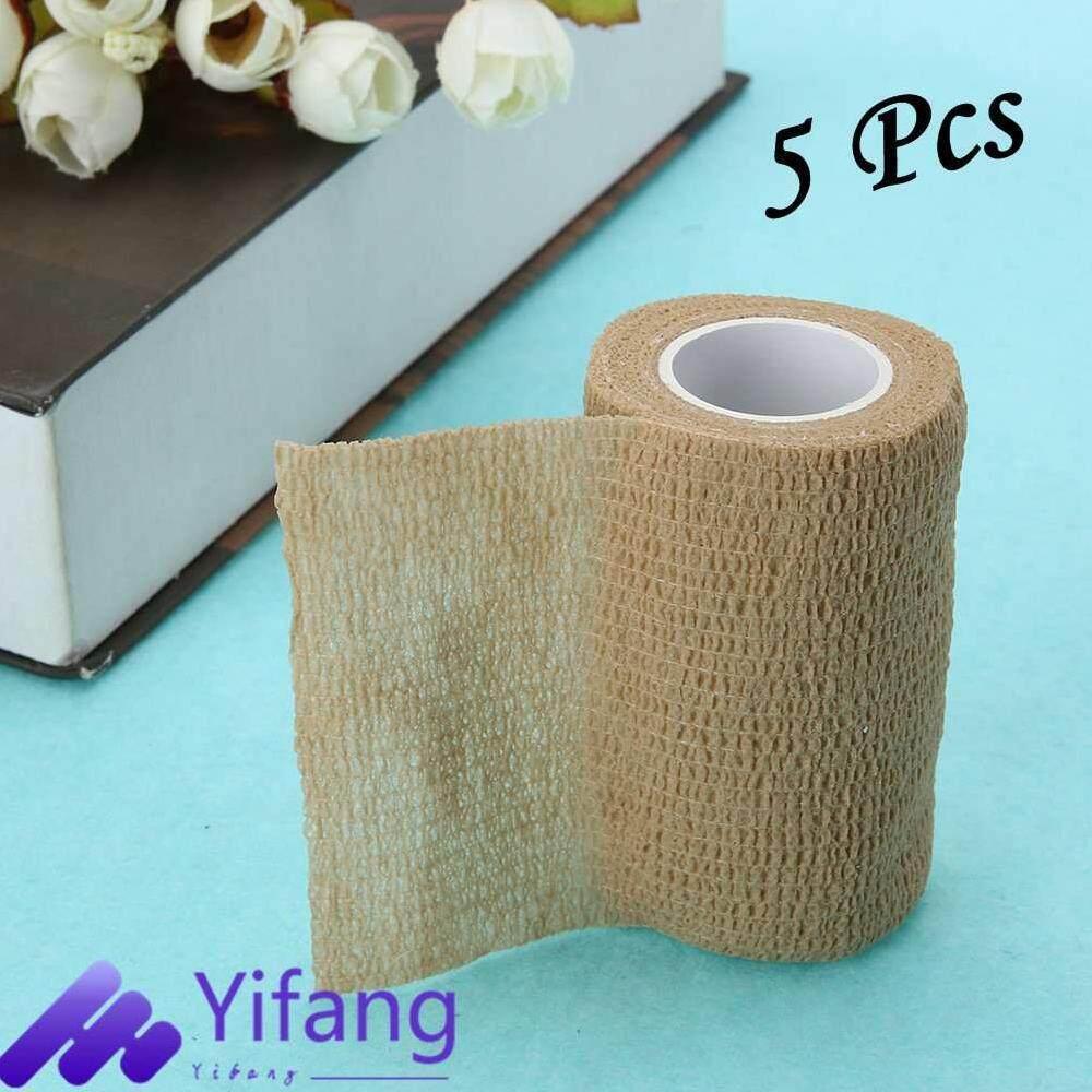 Yifang-5 Buah Atletik Permata Faset Tape Olahraga Pelindung Pergelangan Perekat Kapas Tali Rol Bungkus untuk Pertolongan Pertama Pelindung