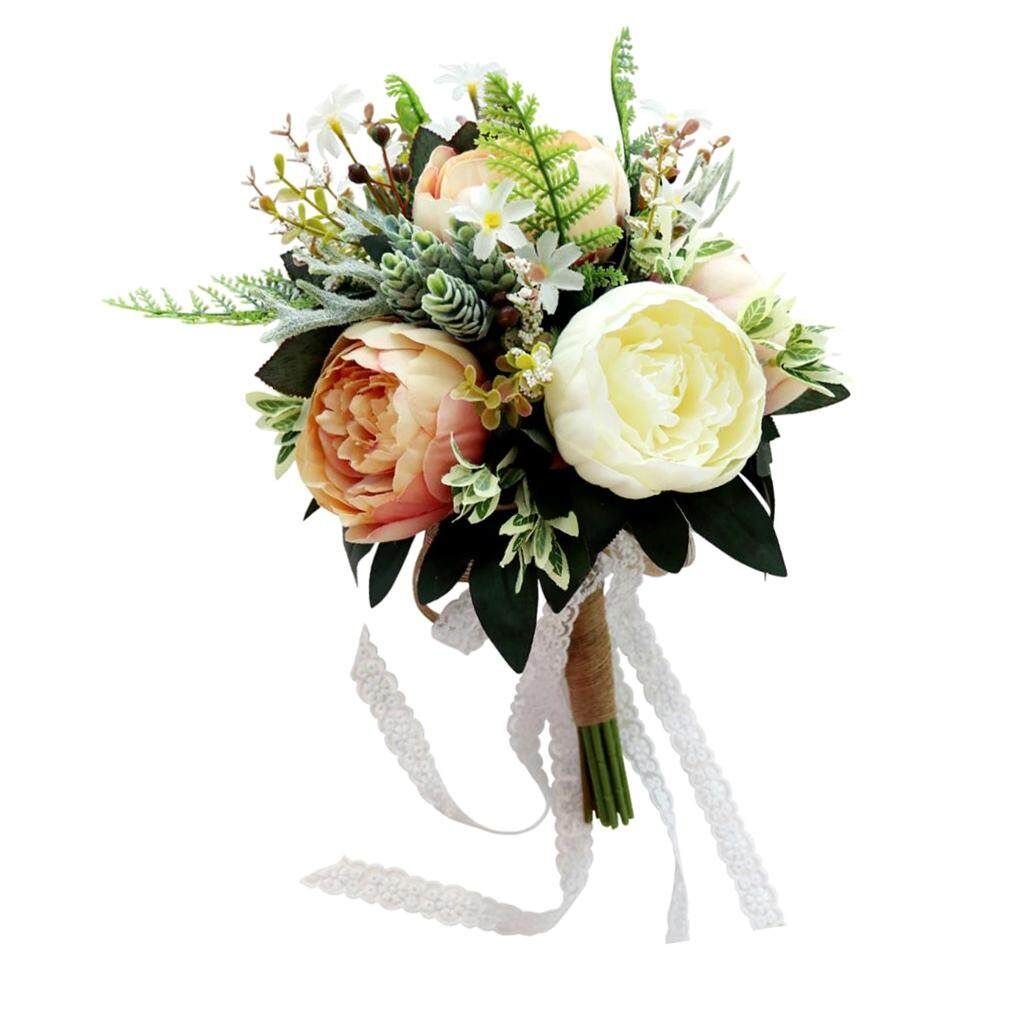 GuangquanStrade Romantic Penoy Flower Wedding Bridal Bouquet Hand Holding Flower 2