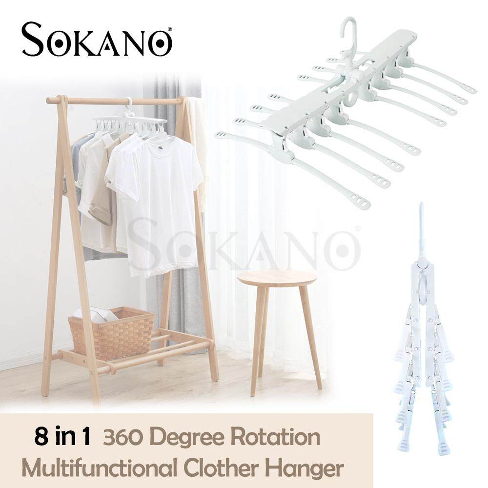 (RAYA 2019) SOKANO 8 in 1 360 Degree Rotation Multifunctional Clothes Hanger Magic Clothes Hanger Retractable Hanger for Retractable Clothes Hanger