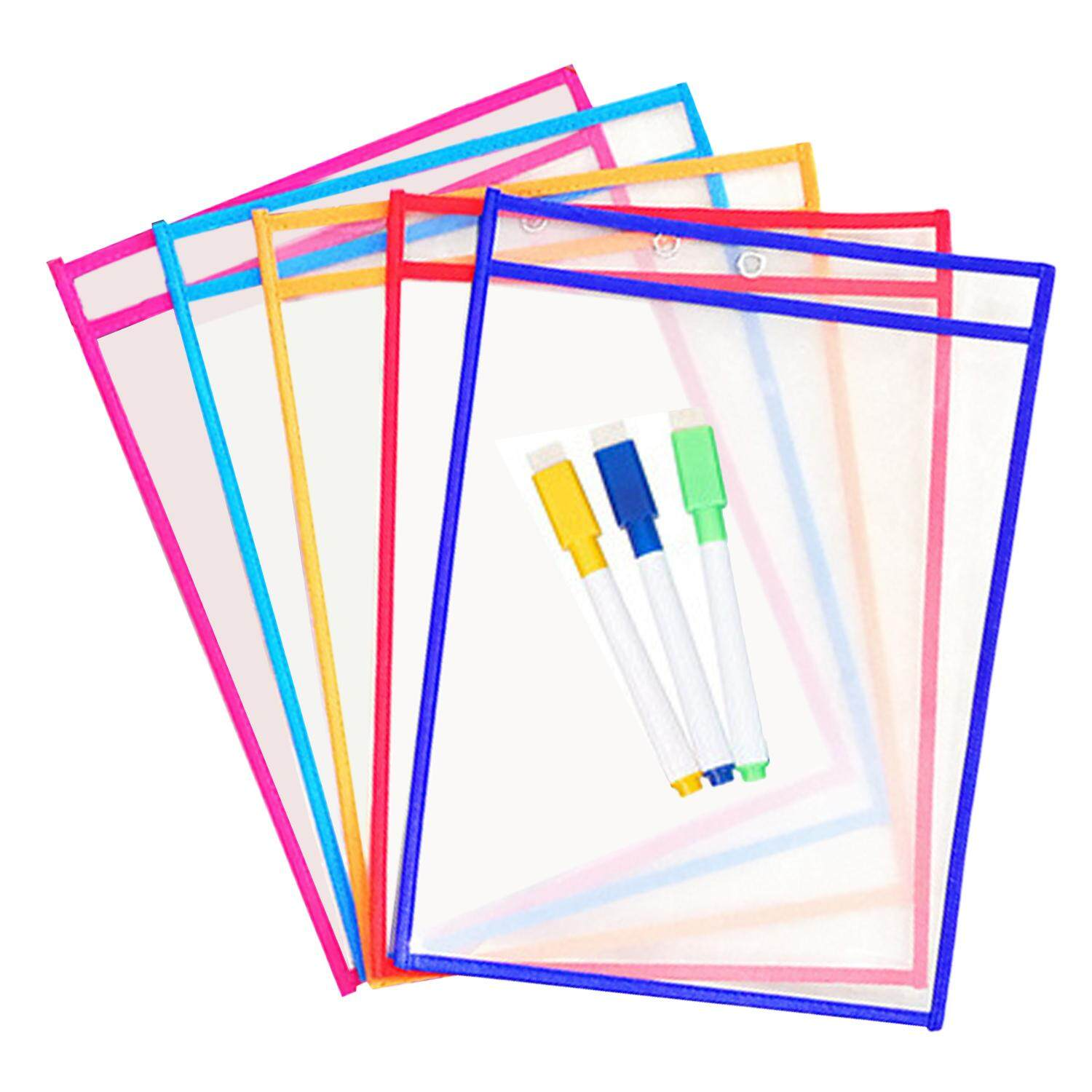 5pcs Reusable Transparent Clear Pvc Dry Erase Pockets Sleeves + 3pcs Pens For Office Learning Classroom Organization Teaching Supplies Random Color By Jelly Store.