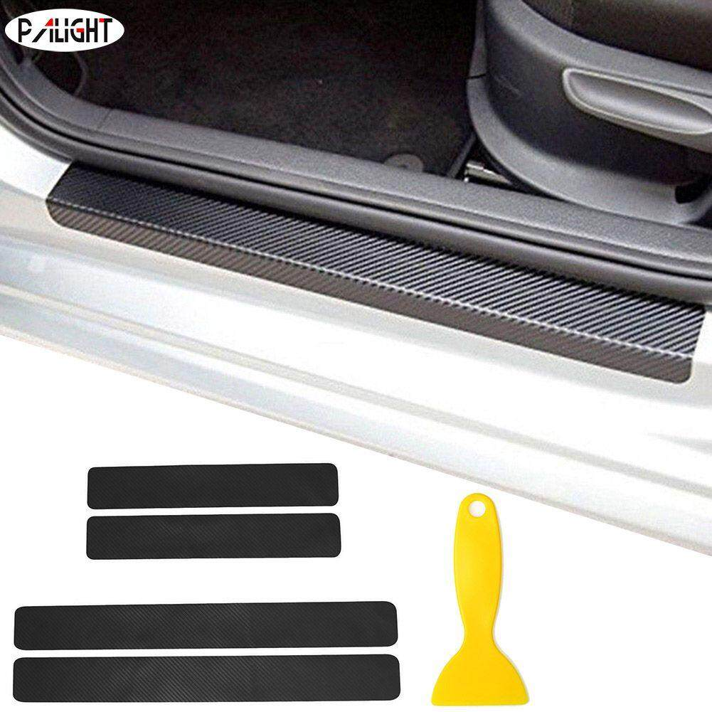 Automotive for Ford Fiesta Door Sill Protector Reflective 4D Carbon Fiber Sticker Door Entry Guard Door Sill Scuff Plate Stickers Auto Accessories 4Pcs Red