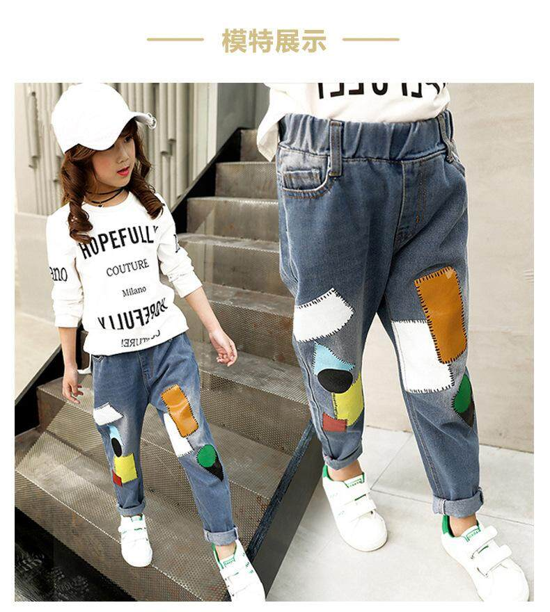 Giá bán New Childrens Large Girls Slim Pants Single-layer Childrens Jeans Jeans Long Tide Cloth-fitting Pants LA4 LAWZX162